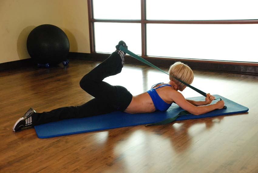 advanced hip flexor exercise with band
